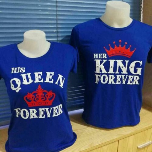 King and Queen Forever Couples Shirt Blue